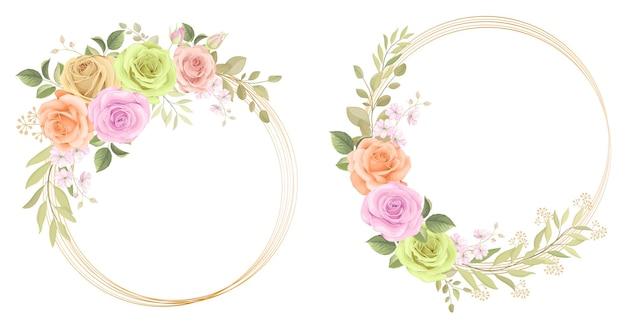 Collezione di cornici floreali con rose ed ornamenti di foglie di eucalipto