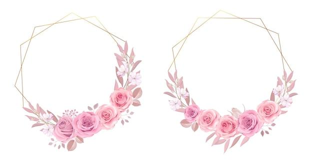 Collezione cornice floreale con rose