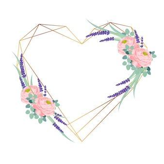 Disegno del telaio floreale con fiori di ranuncolo rosa e lavanda.