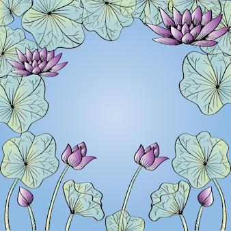 Cornice floreale di fiori di loto viola ninfea