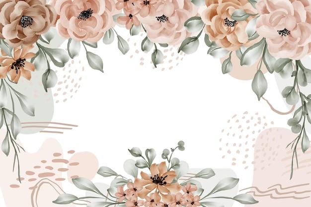 Sfondo di foglie di rosa cornice floreale con forma astratta