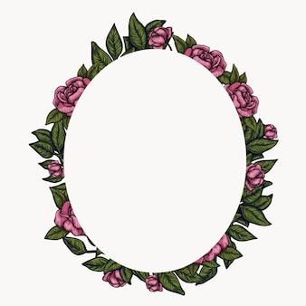 Cornice floreale. composizione di fogliame di primavera, disposizione del cerchio ghirlanda di fiori.