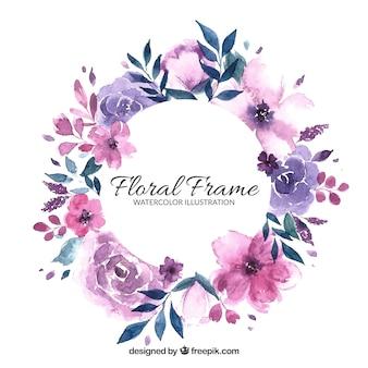 Cornice floreale in stile acquerello