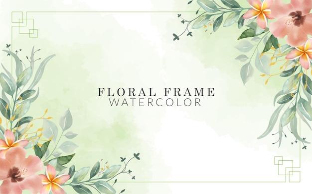 Acquerello cornice floreale con disegnato a mano