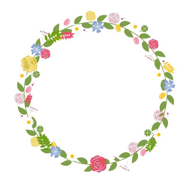 Cornice floreale per matrimonio e carta di compleanno. illustrazione vettoriale