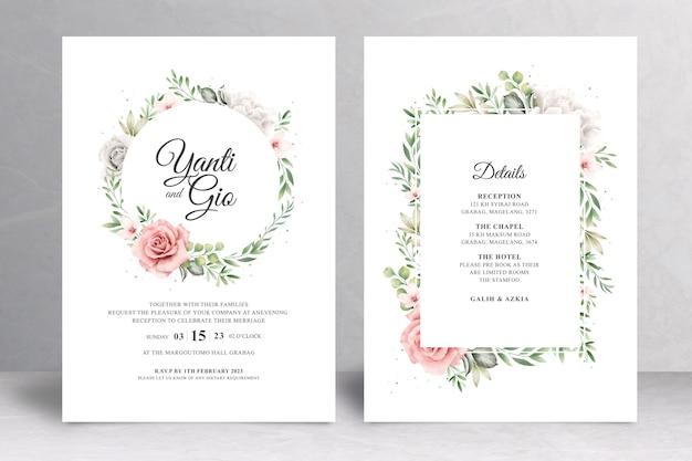 Modello di carta di nozze cornice floreale