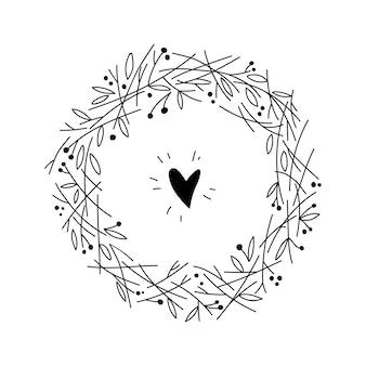 Cornice floreale con rami. corona di erbe disegnata a mano per carta, matrimonio, auguri, stampa e altri motivi floreali vintage.