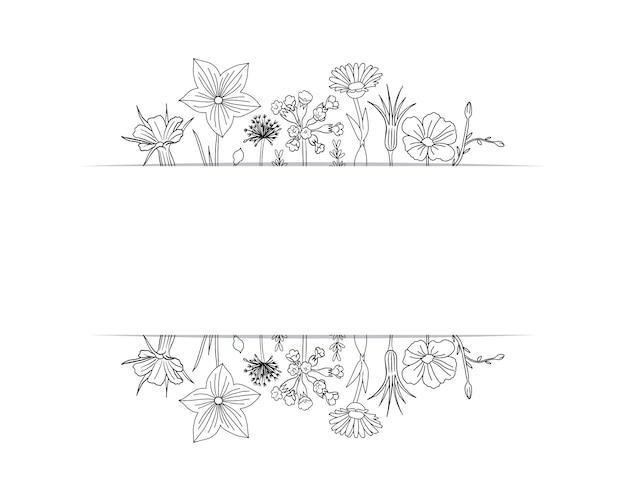 Cornice floreale con illustrazione di fiori di campo primaverili carino
