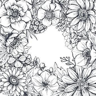 Cornice floreale con piante e fiori primaverili disegnati a mano. monocromo