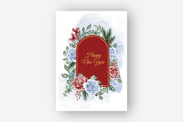 Cornice floreale con sfondo di capodanno inverno tema rosa rosso blu
