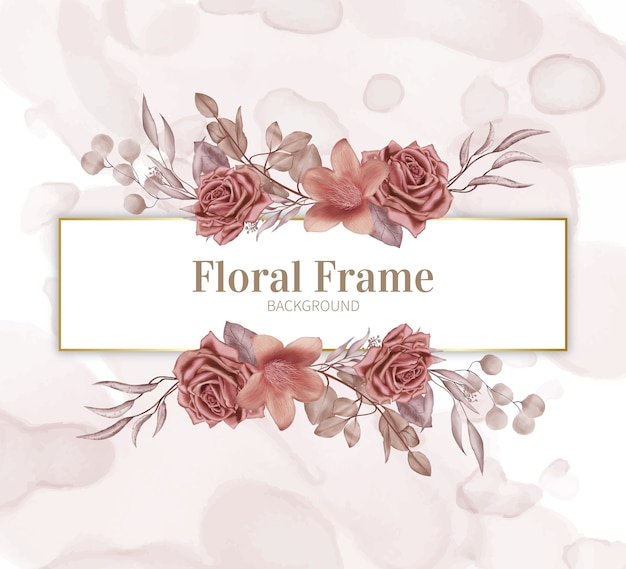 Cornice floreale con sfondo acquerello