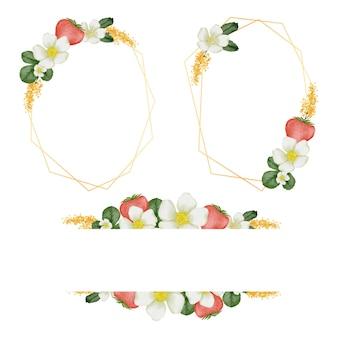 Corone con cornice floreale. insieme dei fiori dell'acquerello del telaio.
