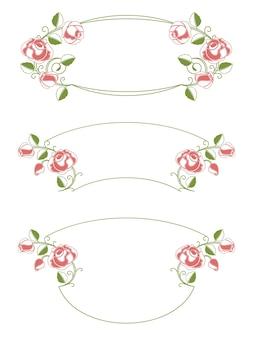 Cornici floreali e vignetta, elemento di design