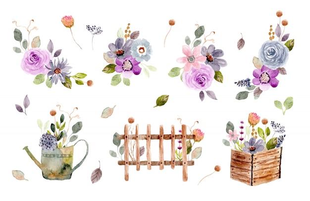 Raccolta dell'acquerello di disposizione floreale del giardino