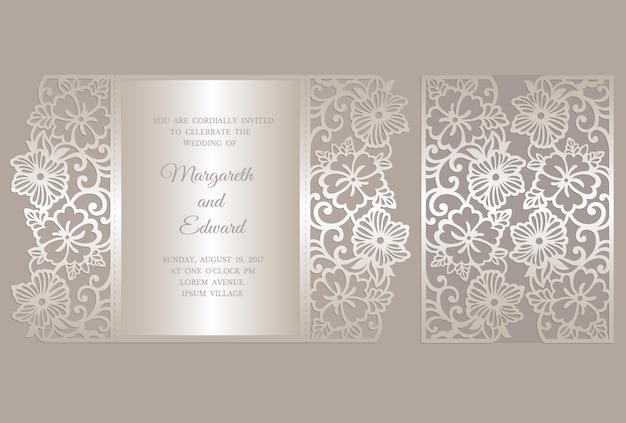 Modello floreale della carta dell'invito di nozze del taglio del laser della piega del portone. modello per il taglio. design per modello laser cut o die cut. matrimonio ornamentale invito mockup.