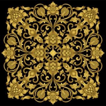 Medaglione floreale dorato per il design.
