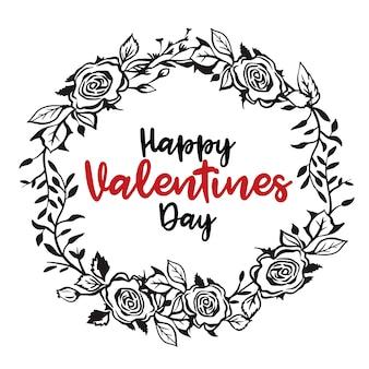 Disegno di cartolina di san valentino saluto floreale