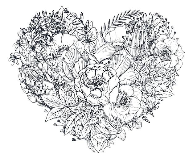 Cuore floreale. composizione bouquet con piante e fiori disegnati a mano. illustrazione monocromatica nello stile di abbozzo.