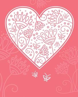 Disegno del cuore floreale