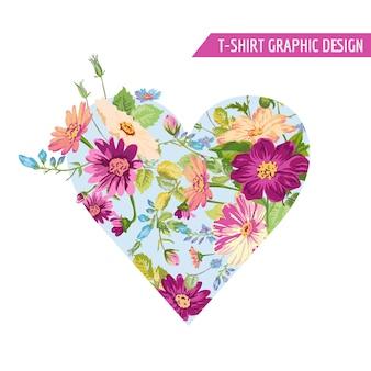 Design della maglietta stile cuore floreale