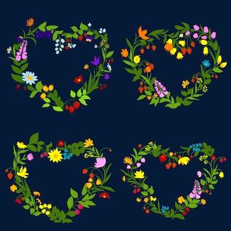 Cuori floreali con fiori ed erbe