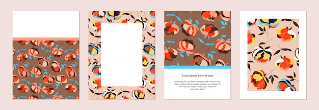 Set di invito floreale. banner disegnato a mano, modelli di volantini. estratto botanico. cartoline e poster. fiori grandi. carte marroni e beige illustrate d'avanguardia. raccolta di modelli di cancelleria.