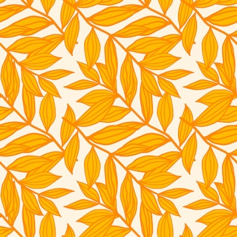 Modello senza cuciture isolato floreale con sagome di fogliame di contorno. ornamento botanico di toni gialli e arancioni su priorità bassa bianca.