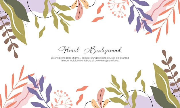 Sfondo di colore opaco floreale e foglie