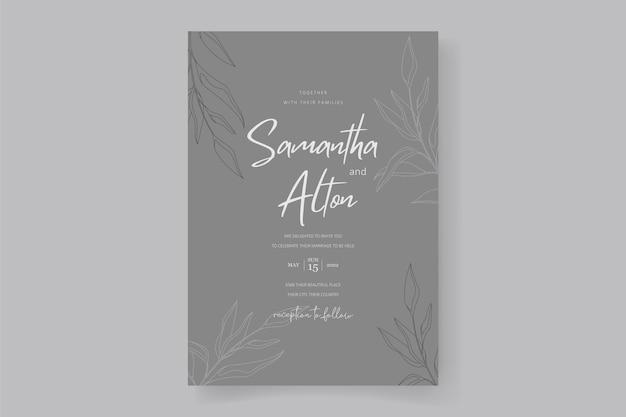 Disegno della carta di invito a nozze floreale e foglie