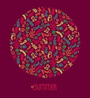 Illustrazione di estate arte linea floreale
