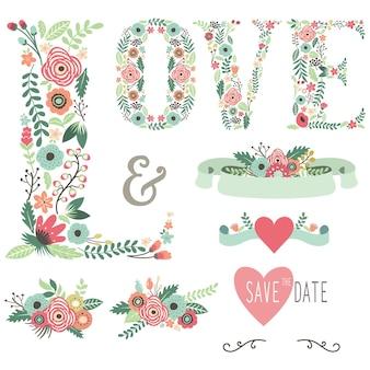 Elementi di disegno floreale di amore