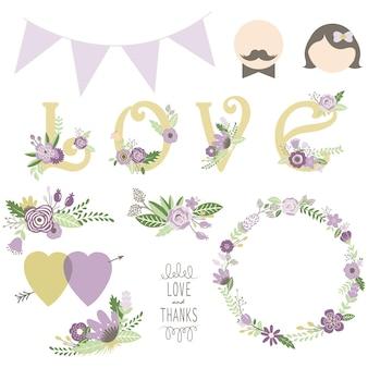 Elementi floreali di saluto di amore