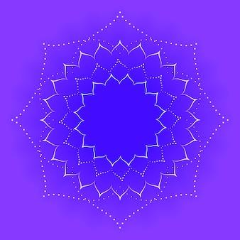 Mandala floreale. modelli intrecciati su uno sfondo viola.