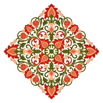 Medaglione floreale per il design. modello per moquette, carta da parati, tessuto e qualsiasi superficie. ornamento colorato vettoriale con melograno
