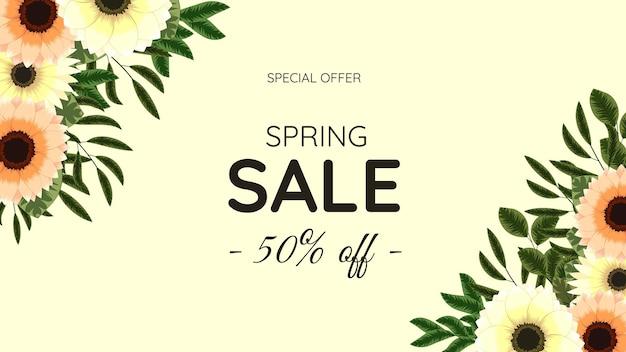 Floreale mega spring saving discounts sale off shopping background modello di etichetta con foglie di fiori