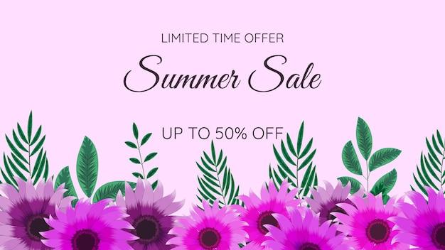Floreale mega sconti estivi saldi fuori shopping sfondo modello di etichetta con morbidi fiori naturali