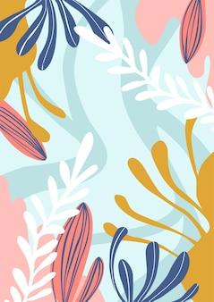 Modello di copertina minimal floreale