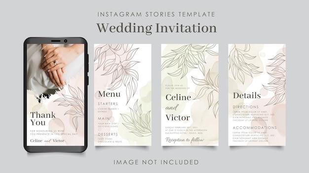Modello floreale di storie di instagram di nozze minimal