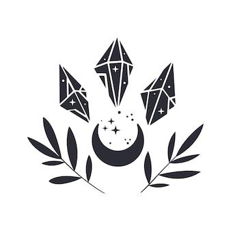Composizione floreale lunare con cristalli e rami. emblema mistico boho. sagoma nera con stelle. illustrazione vettoriale.