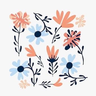 Motivo floreale naturale astratto fiori rosa blu e foglie su sfondo bianco