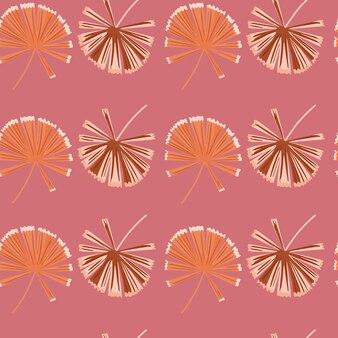 Reticolo senza giunte di natura floreale con sagome di doodle palm licuala.