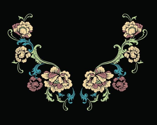 Design floreale del ricamo del collo in stile barocco.