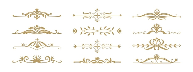 Divisorio ornamentale floreale. elementi decorativi vintage per invito a nozze e biglietti di auguri. vector illustration design ornamento gioielli divisori e bordi per eventi di anniversario o celebrazione