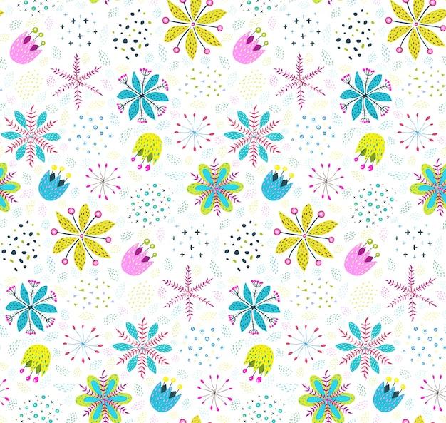 Sfondo di motivi floreali con fiori e foglie