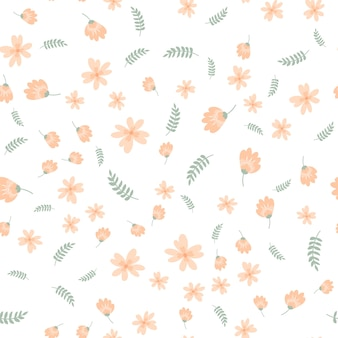 Motivo floreale in stile doodle con fiori e foglie.