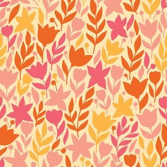 Motivo floreale in stile doodle con fiori e foglie