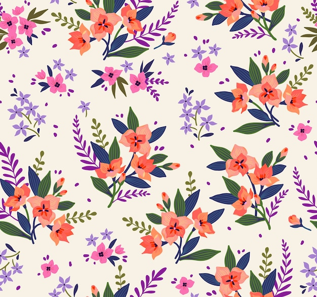 Motivo floreale. bei fiori, sfondo bianco. stampa con piccoli fiori d'arancio. stampa ditsy