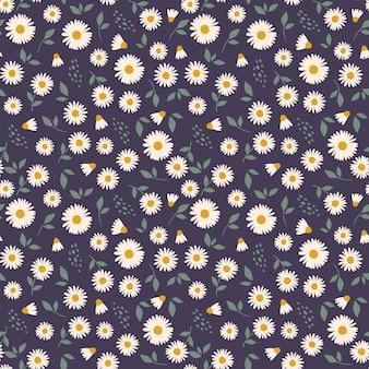 Motivo floreale con camomilla motivo carino con piccoli fiori.