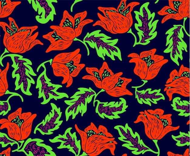 Motivo floreale con fiori colorati