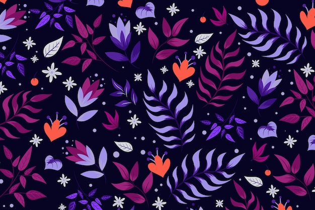 Motivo floreale con foglie